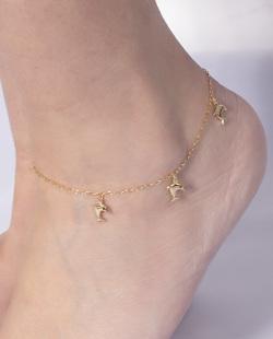 Tornozeleira folheada dourada Ocean