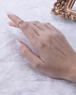 Anel de falange folheado prateado com strass cristal Lace