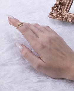 Anel de falange folheado dourado com strass cristal Lace