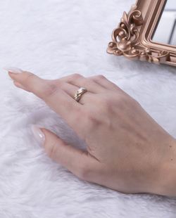 Anel folheado dourado e prata Salvia