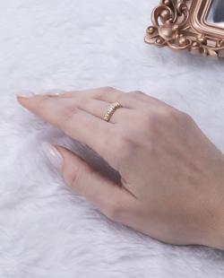 Anel folheado dourado, prata e rosé Salvia