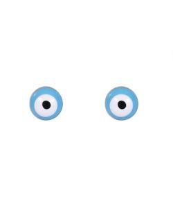 Brinco pequeno folheado dourado com olho grego Pixel