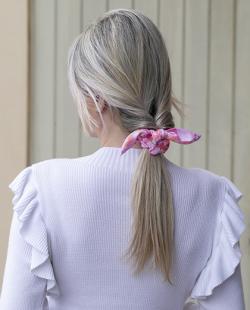 Laço de tecido rosa Tie Dye