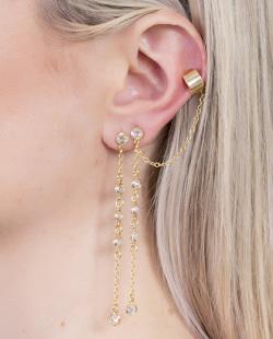 Kit piercing fake dourado com pedra cristal Mask