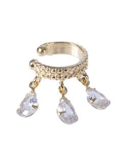 Piercing fake dourado com pedra cristal Five