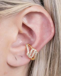 Piercing fake dourado com strass cristal Hype