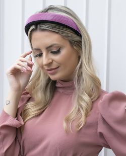 Tiara de tecido com strass pink Lille