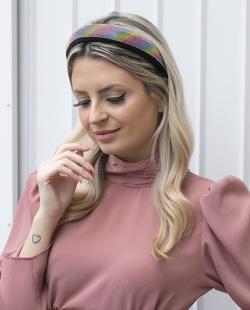 Tiara de tecido com strass tie dye Dijon