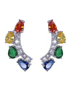 Ear cuff prateada com pedra colorida Brunet