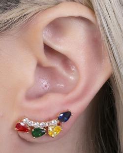 Ear cuff dourada com pedra colorida Brunet
