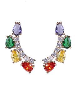Ear cuff dourada com pedra colorida Brunet 2