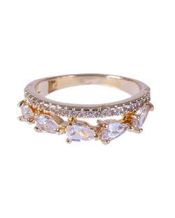 Anel dourado com pedra cristal Line