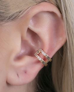 Piercing fake dourado com strass cristal Atena