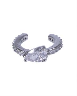 Piercing fake prateado com pedra e strass cristal Rome