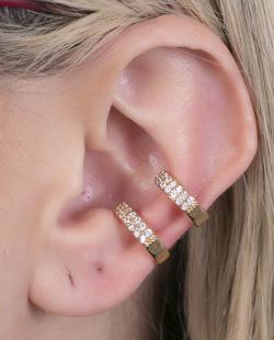 Piercing fake dourado strass cristal Milan