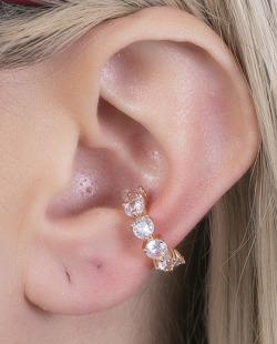 Piercing fake dourado com pedra cristal Lódz