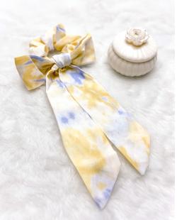 Laço de tecido tie dye amarelo Azuki