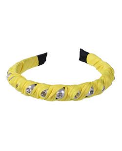 Tiara de tecido amarelo com pedra cristal Tuka