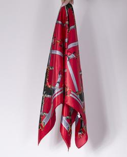Lenço de cetim vermelho e preto Rize