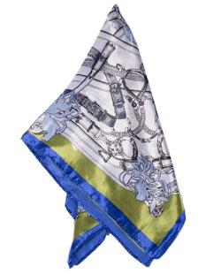 Lenço de cetim azul e verde Ozza
