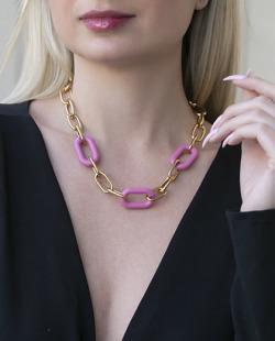 Colar dourado com rosa Salsse