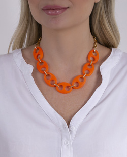 Colar laranja neon e dourado Birke
