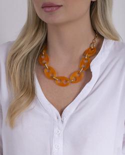 Colar laranja e dourado Birke