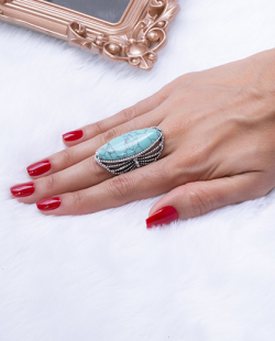 Anel prateado com pedra turquesa Zenday
