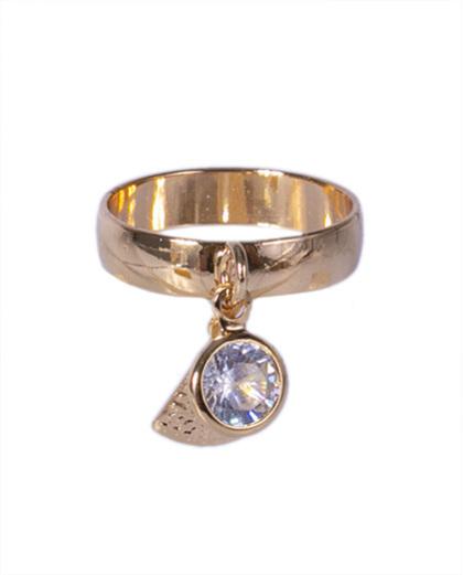 Anel dourado com pedra cristal Leone