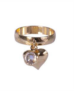 Anel dourado com pedra cristal Jones