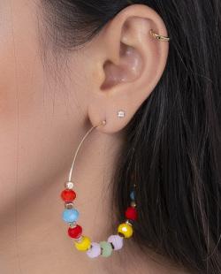 Argola dourada com pedras coloridas Lillo