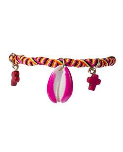 Pulseira colorida com búzio rosa Reyes
