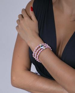 Kit 3 pulseiras rosa e pérola Turky
