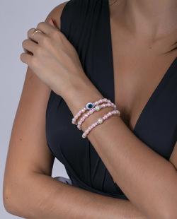 Kit 3 pulseiras rosa claro e pérola Turky