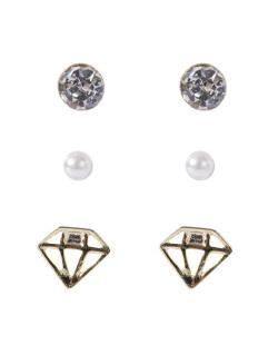 Kit 3 pares de brincos dourado com pedra cristal Wokah