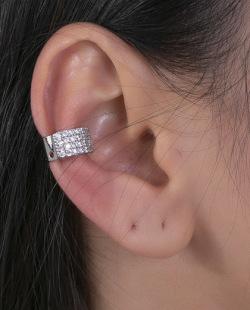 Piercing fake prateado com strass cristal Kaya