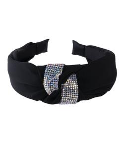 Tiara de tecido preto e strass furta-cor Vicky