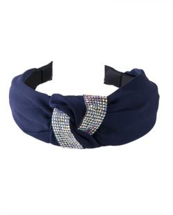 Tiara de tecido azul com strass furta-cor Vicky