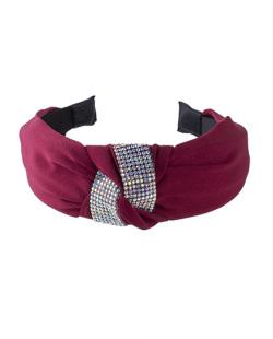 Tiara de tecido vermelho e strass furta-cor Vicky