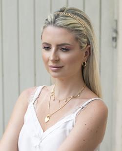 Tiara de metal dourada Lorena