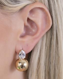 Brinco pequeno dourado com pedra cristal Whiza