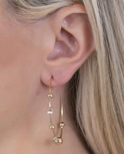 Argola dourada com pedra cristal Amber