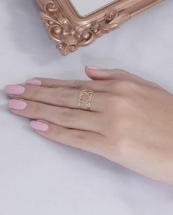 Anel folheado dourado, prata e rosé Samy
