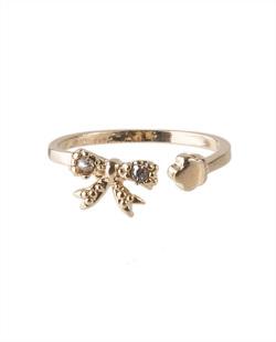 Anel de falange folheado dourado e pedra cristal Malika