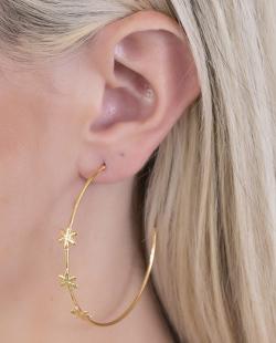 Argola folheada dourada Flowers
