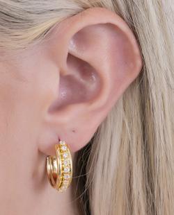 Argola folheada dourada com strass cristal Veneza