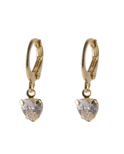 Argola folheada dourada com pedra cristal Kathy