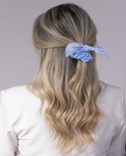 Laço de tecido azul Tânia