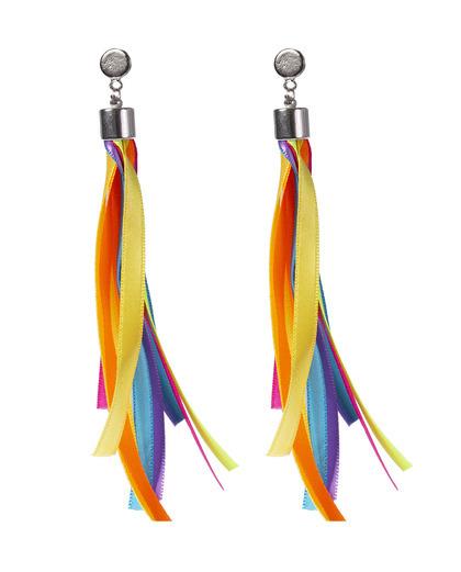 Brinco prateado fitas colorido Carnival