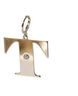 Pingente dourado com strass cristal letra T